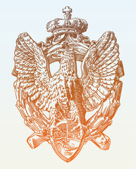 sketch digital drawing of heraldic sculpture eagle in Rome, Ital