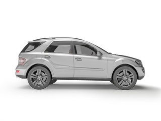 Silver Suv on white background