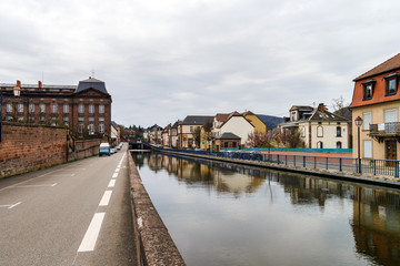 Marne-Rhin canal view in Saverne, France