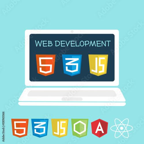 Wall mural web development laptop