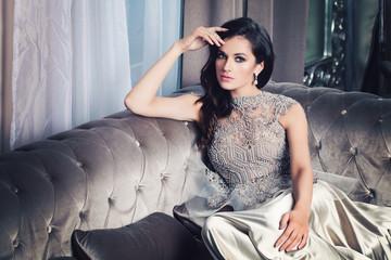 Glamorous Fashion Model Woman in Celebrity Interior