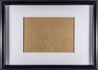 Black plain empty thin wood picture frame with white mat passe-partout full frame