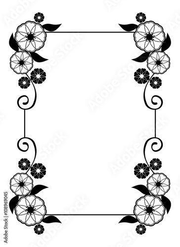 """""""Flower frame. Decorative black and white frame with ..."""