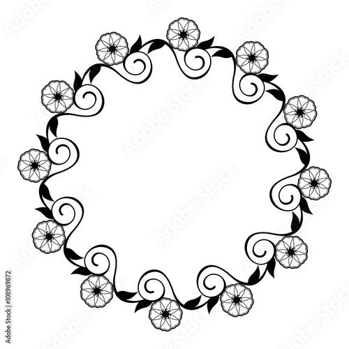 round flower frame decorative flowers arranged on a shape of the rh fotolia com