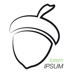 Acorn Logo. Outline Acorn. Template Logo Company