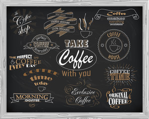 beautiful signboard coffee with inscriptions