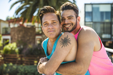Portrait of gay couple in love