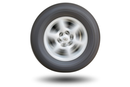 Car wheel spinning isolated on white background.
