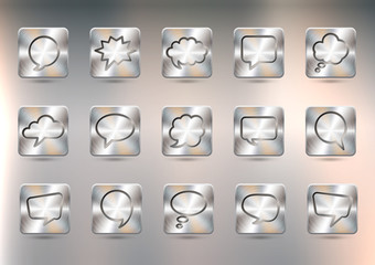 Set of metal buttons with speech bubbles. Brushed polished copper texture, created with gradient mesh. Vector EPS 10.