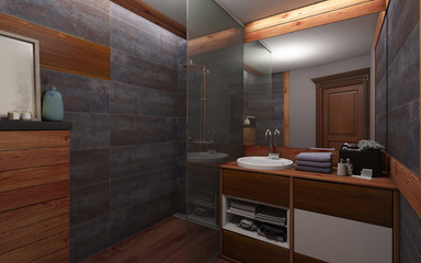 Bathroom In Dark Color And Wood