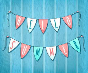Summer party card with flags on wooden background