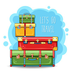 Travel illustration with stack of suitcases on blue background