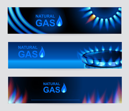 Set of three banners natural gas. Blue gas flame. Vector EPS 10.