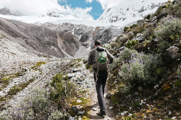 Peru, Huaraz, Huascaran National Park, man on a trek