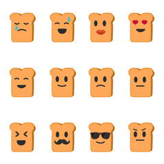 Vector emoji bread set. Set bread smiles. Cartoon emoji bread.