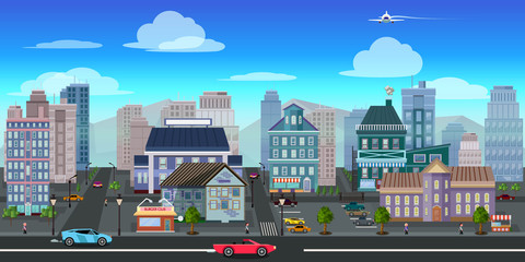 city game background 2d game application. Vector design.