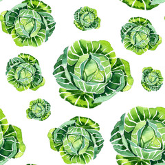 Watercolor summer insulated cabbage pattern