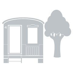 Stylized icon of a colored house for camping