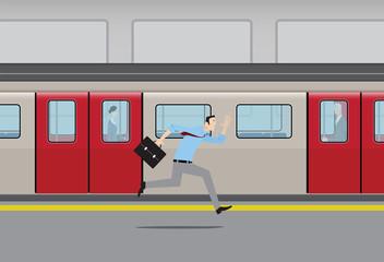 Man running to catch subway train.