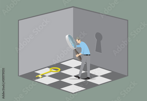 Escape room game concept man with magnifying glass for Escape room concept