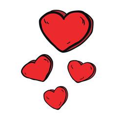 freehand drawn cartoon hearts