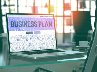 Business Plan Concept. Closeup Landing Page on Laptop Screen in Doodle Design Style. On Background of Comfortable Working Place in Modern Office. Blurred, Toned Image. 3D Render.