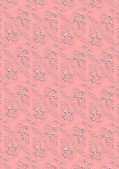 Pink background with white  seamless  vintage   ornament