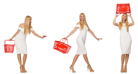 Woman in shopping concept isolated on white