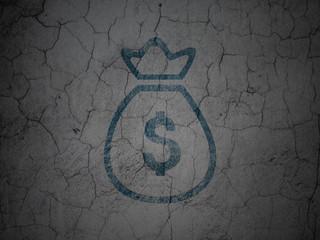 Money concept: Money Bag on grunge wall background
