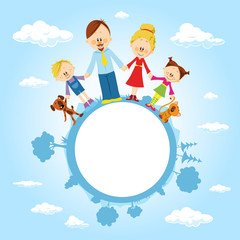 globe surrounded by clouds, sky and family - vector illustration