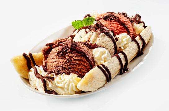 Banana ice cream split on whoite background,sundae isolated