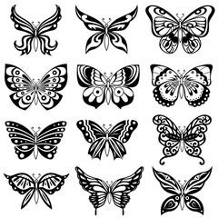 Set of twelve black butterflies