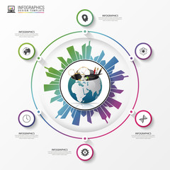 Earth with building city. Business infographic concept. Vector