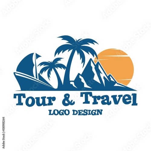 """Travel And Tour Logo Design, Ship, Palm, Mountain, Sun ..."