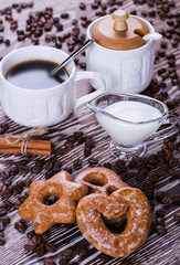 black coffee on a wooden background