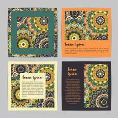 Set of square template cards with hand drawn flower mandala.Stylish geometric pattern in oriental style.Green,orange,beige, plum colors. Indian, asian, arabic, islamic, ottoman, moroccan motif. Vector
