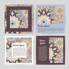Set of template cards with hand drawn flower mandala.Stylish geometric pattern in oriental style.Blue, brown, beige, white colors. Indian, asian, arabic, islamic, ottoman, moroccan motif. Vector.