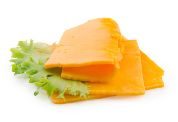 Cheddar. Slices of cheese isolated on white background with clipping path