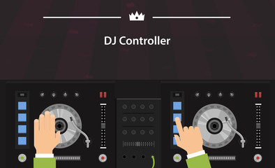 Vector turntable and dj hands, controller, top view, flat