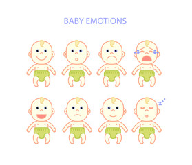 Newborn babies emotions set, flat