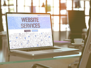 Website Services Concept Closeup on Landing Page of Laptop Screen in Modern Office Workplace. Toned Image with Selective Focus. 3D Render.