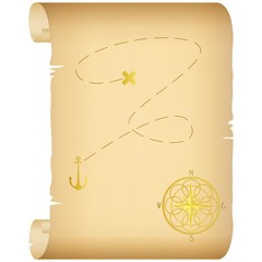 Treasure map.Color - gold.