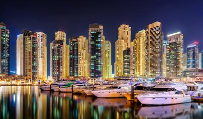 Colorfull night dubai marina skyline, Dubai, United Arab Emirates