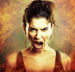 Rage explosion. Scream of angry woman