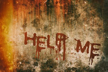 Horror Crime Concept. Help Message on Bloody Background Wall Wall mural