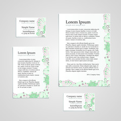 Handmade business tracery card design. Handmade tracery. Set composed of two business cards aspect ratio 85x55 and 90x50, sheets A5 and A6 format, hina mehndi style.
