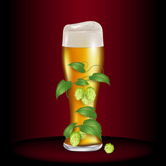 Glass of light beer wrapped hops. Realistic vector illustration
