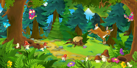 Cartoon forest scene with animals - illustration for children