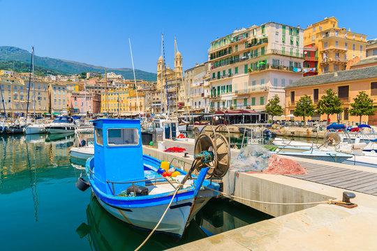 Fishing boat in Bastia port on sunny summer day, Corsica island, France