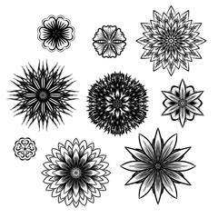 Ray edge mandala. Includes cornflowers, lotus, begonia. Maybe used as seamless texture. Realistic hand-drawn trace image.